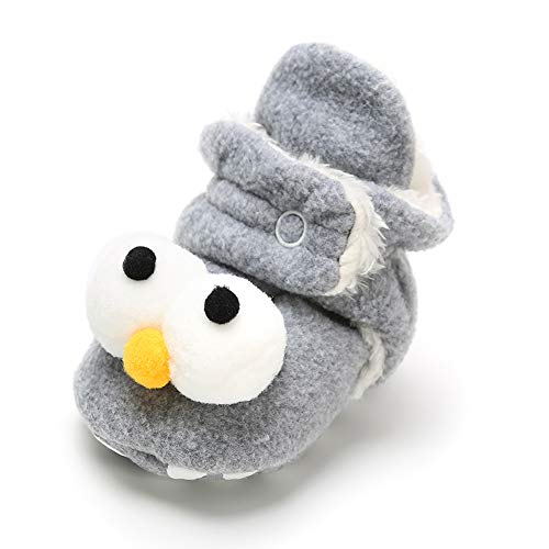 Sawimlgy Baby Boys Girls Cozy Fleece Soft Sole Ankle Booties Grippers Slippers Prewalkers Frist Birthday Gift (0-6 Months, C-Light Grey) -