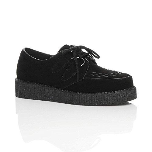 Ajvani Mens Flat Black Platform Wedge Lace Up Goth Punk Creepers Shoes Boots Size 9 42