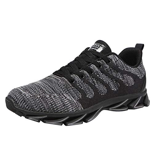 Price comparison product image Men's Sneakers Ligthweight Non Slip Breathable Mesh Casual Walking Workout Running Shoes Slip On Tennis Gym LIM&Shop Grey