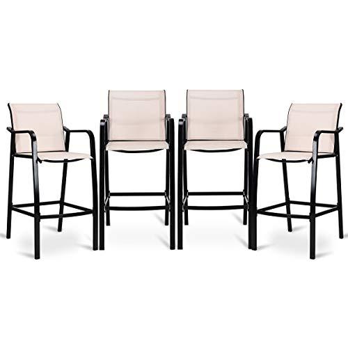 USA_Best_Seller 4 pcs Durable Beige Outdoor Garden Patio Counter Height Steel Frame Leisure Bar Chairs Deck Backyard Balcony Furniture Lightweight Modern ()