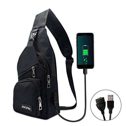 AMJ Sling Bag Shoulder Backpack Chest Bags Crossbody Daypack for Women & Men with USB Cable for Hiking Camping Outdoor Sport Cycling Trip Black ()