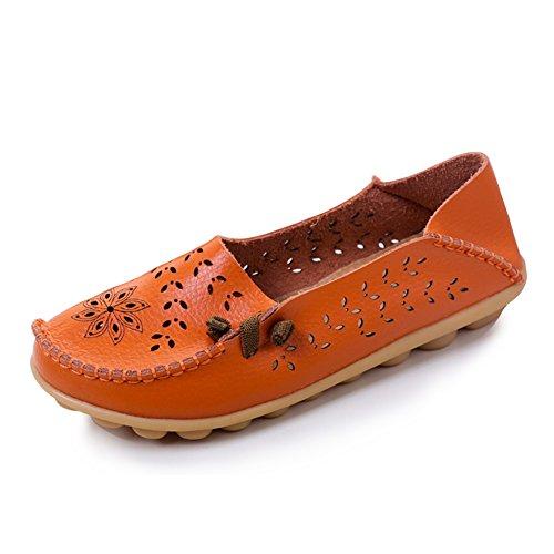 Blivener Womens Casual Loafers Holle Platte Schoenen Zomer Slippers Oranje