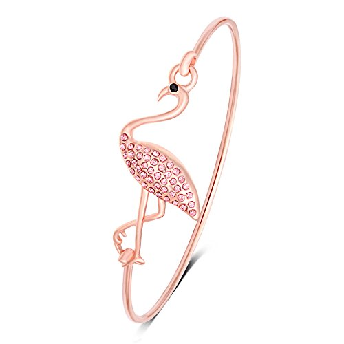 MANZHEN Full Rhinestone Pink Flamingo Open Bangle Bracelet Fashion Jewelry for Women (Rose Gold)