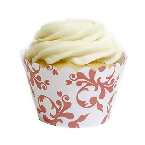 Dress My Cupcake Coral Filigree Cupcake Wrappers, Set of (Coral Cupcake Liners)