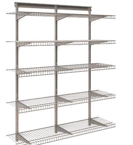 5-Tier Heavy Duty Wall Mount Nickel Wire Storage Shelves - Adjustable Floating Wall Shelves - Great Organizer Kitchen, Garage, Laundry, Pantry, Office Any Room- 5-Shelf Kit, Stable Durable (Closet Maid Garage)