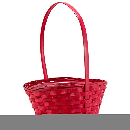 8″ Round Red Wicker Handwoven Gift Arrangement, Fruit or Easter Basket- 4″x8″  ...