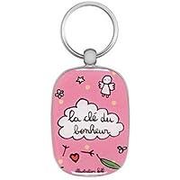 Porte-clés La clé du bonheur - rose- DLP -Derrière la Porte