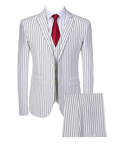 Mens 3 Piece Pinstripe Suit Slim Fit Casual Dress Suits Blazer + Vest + Pants US Size 32 (Asian Size L) White ()