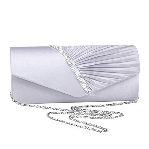 Biback Evening Pleated Studded Satin Bag and Crystal Handbag Silver Party Clutch Cross Womens Wedding Body for Purse znI0rzq