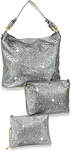 (Zzfab Rhinestone Laser Cut Hobo Bag set Silver)