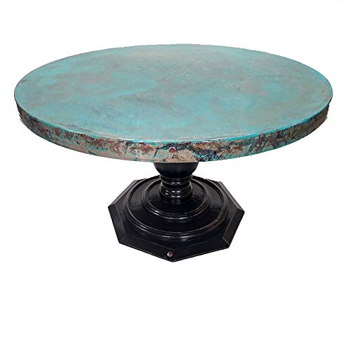 Hand Painted Wood Base - Round Dining Table with a Trendy Oxidized Copper Top. Wood Base is Hand-Painted in a Chocolate Finish