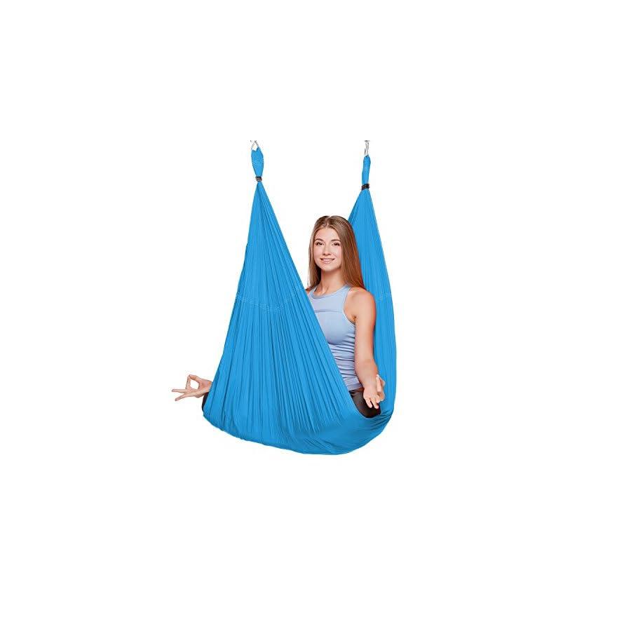 SHENGXIA Womens Elastic Aerial Hammock Yoga Swing Sling Inversion Antigravity Sky Blue 5M x 2.8M
