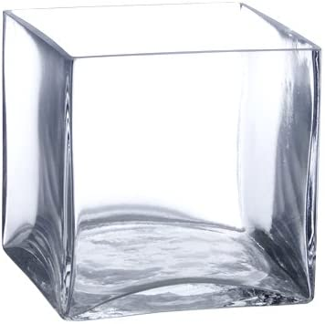 Candles4Less – Bulk 6 Pieces 6 inch Clear Glass Square Vases