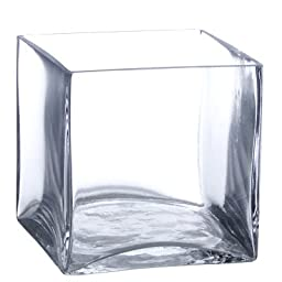6-Pack Clear Square Glass Vase - Cube 5 Inch 5\