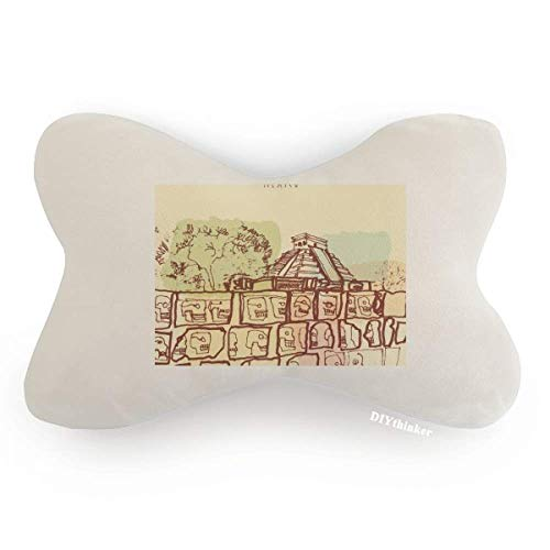 Chichen Itza Mexico Ancient Civilization Drawing Car Neck Pillow Headrest Support Cushion Pad by DIYthinker