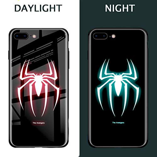 Super Spider Hero Man Luminous Fashion Luxury Tempered Glass Hybrid Case for iPhone X 7 8 6 6s Plus XS iPhone XR iPhone Xs MAX (Style 4, iPhone 7 8)