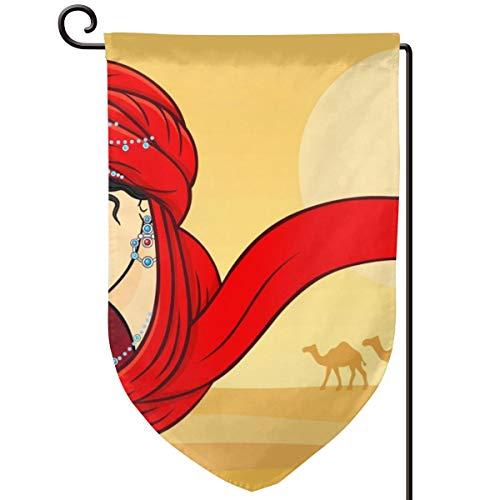 TY111 Beautiful Arabian Red Headscarf Woman Camel Golden