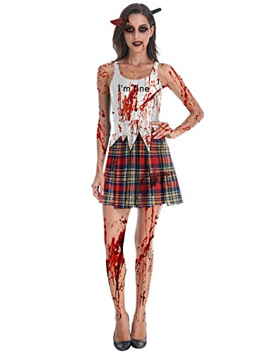 Bloody School Girl Costume - GRACIN Womens Halloween Dress Sleeveless Bloody