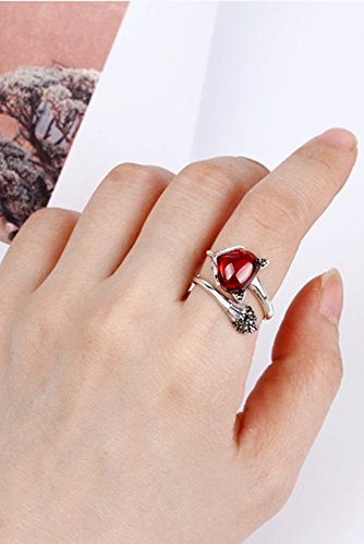 Retro Big Fox Tail Ring Ring Silver Ring Finger Women Girls Models s925 Sterling Silver Ring Opening Birthday Present ()