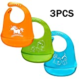 Baby Bibs,Silicone Bibs for Newborns Infant Toddlers,with Gift-Wrapping,Comfortable Soft,Easily Wipes Clean,Baby Gifts,Set of 3 Colors (3pcs)