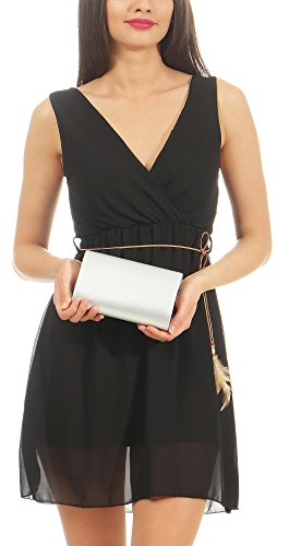 Evening Clutch Glitter Chain Silver Bag Handbag Women´s T400 with Purse malito Citybag Z5wWFEq4W
