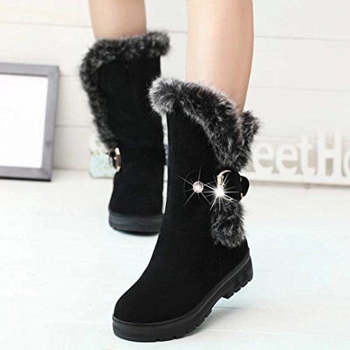 Boots Head HCFKJ New Winter With Boots Black Snow Woman Boots and Autumn Rough Warm Round PqaRPZ