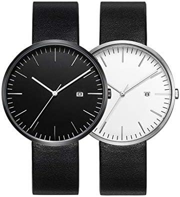バレンタインロマンチックシンプルウォッチ、レザーバンド、彼と彼女のクールな腕時計のギフトは、恋人のための2つのアナログ時計のセットを設定します。 (色 : Black white)