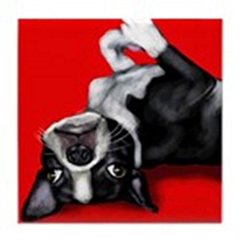 CafePress - BOSTON TERRIER DOG portrait Tile Coaster - Tile Coaster, Drink Coaster, Small Trivet