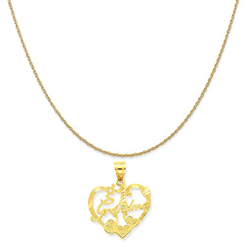 Mireval 14k Yellow Gold #1 Grandma Heart Pendant on a 14K Yellow Gold Rope Chain Necklace, ()