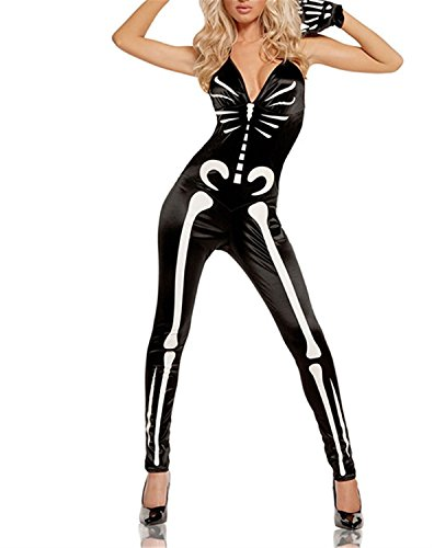 1960's Costumes Australia (Henraly Sexy Skeleton Costume - Black - Large Dark12-14, LG)