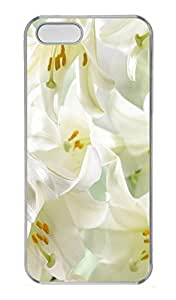 iPhone 5S Case White Lilies PC Custom iPhone 5/5S Case Cover Transparent