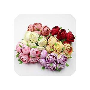 6pcs/lot 4cm Silk Rose Bud Artificial Flower Bouquet Wedding Decoration DIY Wreath Scrapbook Gift Box Craft Flower 14