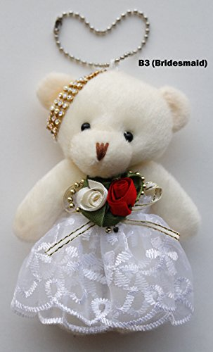 DIYJewelryDepot 1 Pc. Cute Bear Key Chain With Head Accessories, Dress and Suit (B3(Bridesmaid))