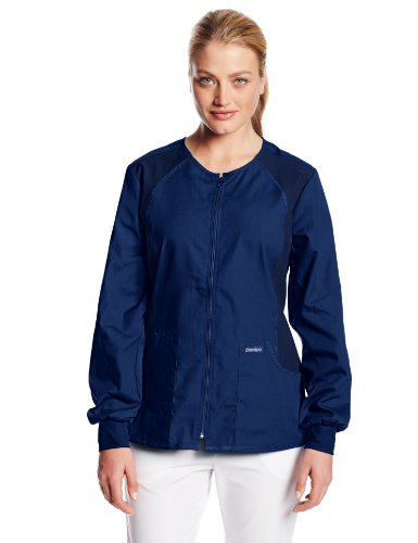 Cherokee Women's Scrubs Flexibles Zip-Front Warm-Up Jacket, Navy, Large (Jacket Scrub Zip Front)