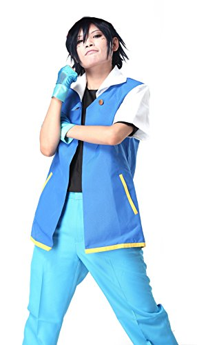 Teens Jacket Shirt Gloves Deluxe Cosplay Costume Royal Blue Suit Xcoser L  ()