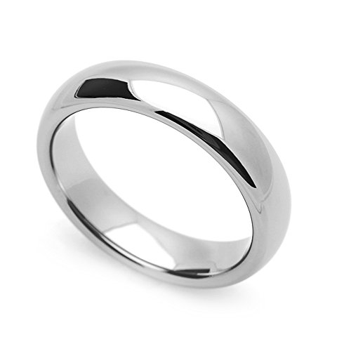 Plain Domed 5mm Band Ring - Double Accent 5MM Comfort Fit Stainless Steel Wedding Band Classic Domed Ring (Size 5 to 12) Size 8