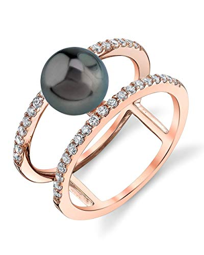THE PEARL SOURCE 8-9mm Genuine Black Tahitian South Sea Cultured Pearl Rose Gold Luna Ring for Women