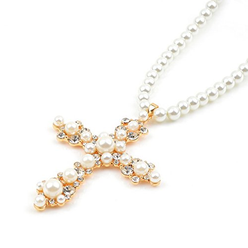 Pearl Cross Necklace - 5