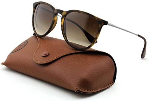 Ray-Ban RB4171 ERICA Unisex Gradient Aviator Sunglasses (Rubber Havana Frame, Brown Gradient Lens - Rayban Rb4171