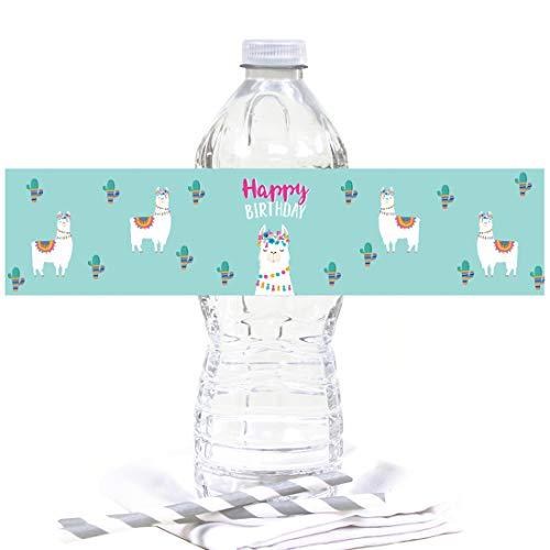 Andaz Press Llama and Cactus Birthday Party, Water Bottle Labels, Happy Birthday, 20-Pack, Llama Alpaca Bohemian Themed Decor]()