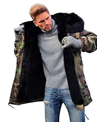 Aox Men's Casual Faux Fur Hood Thicken Winter Coat