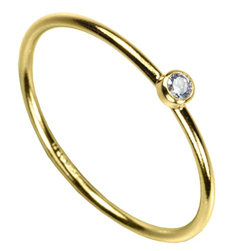 uGems 14kt Gold Filled White CZ Stacking Rings Size 6 ()