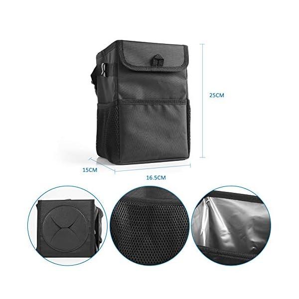 414kBy zD0L Winzwon Auto Mülleimer, IP68 Wasserdicht Abfalltasche, 6L Faltbar Abfalltasche Auto Tasche mit Deckel, Zusammenfaltbare…