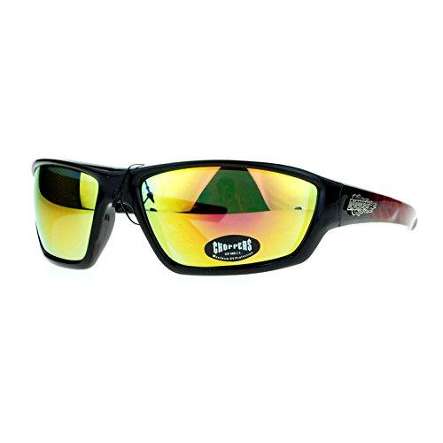 Choppers Steel Diamond Plate Arm Rectangular Warp Motorcycle Sunglasses Black Red