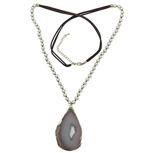 Brown Imitation Pearl (Gypsy Jewels Long Natural Stone Agate Slice Faux Suede Necklace - Assorted Colors (Imitation Pearl Brown))