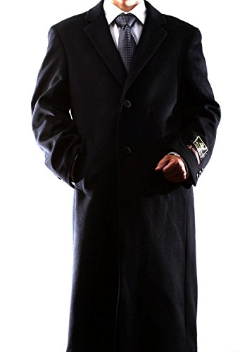 Men's Single Breasted Black (40811) Luxury Wool Full Leng...