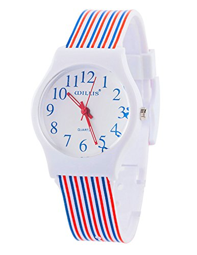 Tonnier Watches Resin Super Soft Band Student Watches for Teenagers Young Girls Starry (Red&Blue Stripes) from Tonnier