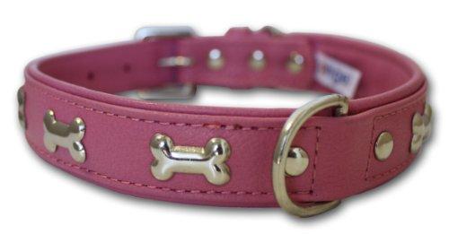 "Leather ""Bones"" Dog Collar (Rotterdam). 22″ x 1″ ,  Bubblegum Pink, My Pet Supplies"