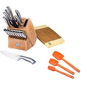 Elegant 19 Pieces Cutlery Knife Block Set comes with Spatula Set