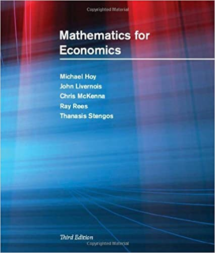 Book Mathematics for Economics (MIT Press) by Michael Hoy (2011-03-11)